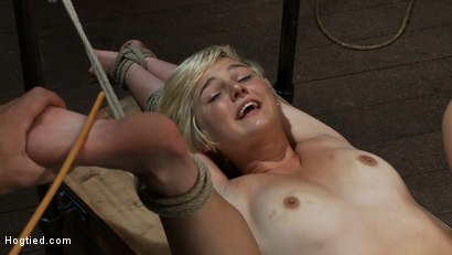 Photo number 6 from Hot blond's first time being made to squirt! <br>Totally helpless, bound, & cumming so much it hurts shot for Hogtied on Kink.com. Featuring Chloe Camilla in hardcore BDSM & Fetish porn.