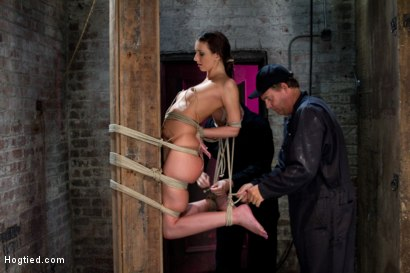 Photo number 7 from Predicament Category 5 bondage.  <br>Pulled back by hair tie, pulled forward by nipples!<br> shot for Hogtied on Kink.com. Featuring Katie Jordin in hardcore BDSM & Fetish porn.