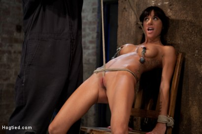 Photo number 4 from This is old school bondage and suffering at its best.<br>  The backbreaking crotch rope from HELL. shot for Hogtied on Kink.com. Featuring Isis Love and Gia DiMarco in hardcore BDSM & Fetish porn.