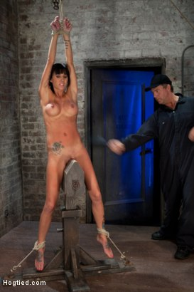 Photo number 14 from Extreme pussy torture on the wooden horse.<br>Hard flogging, a brutal zipper and now it's fun. shot for Hogtied on Kink.com. Featuring Isis Love and Gia DiMarco in hardcore BDSM & Fetish porn.