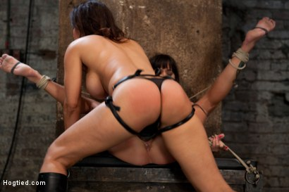 Photo number 4 from Sexy MILF is bound down, suffers hard caning & foot torture<br>extreme nipple pain & brutal fisting! shot for Hogtied on Kink.com. Featuring Isis Love and Gia DiMarco in hardcore BDSM & Fetish porn.