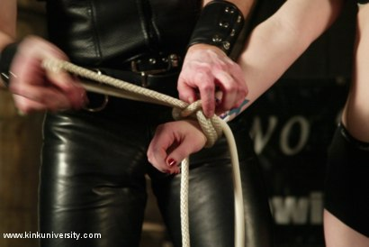 Photo number 17 from The Two Knotty Boys Share some Rope Bondage Basics shot for Kink University on Kink.com. Featuring Madison Young in hardcore BDSM & Fetish porn.