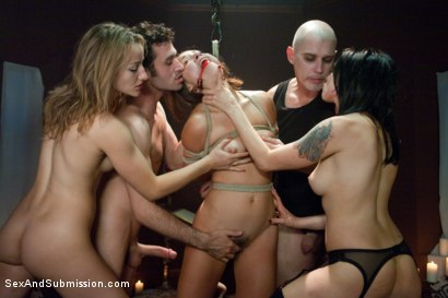 Photo number 11 from Vamp Episode 1: A Fall From Grace shot for Sex And Submission on Kink.com. Featuring James Deen, Kristina Rose, Mark Davis, Jessie Cox and Lorelei Lee in hardcore BDSM & Fetish porn.