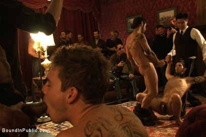 Photo number 5 from Gay Night on The Upper Floor shot for Bound in Public on Kink.com. Featuring Christian Wilde, Jake Austin and Hayden Russo in hardcore BDSM & Fetish porn.
