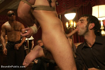 Photo number 6 from Gay Night on The Upper Floor shot for Bound in Public on Kink.com. Featuring Christian Wilde, Jake Austin and Hayden Russo in hardcore BDSM & Fetish porn.