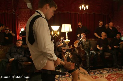 Photo number 2 from Gay Night on The Upper Floor shot for Bound in Public on Kink.com. Featuring Christian Wilde, Jake Austin and Hayden Russo in hardcore BDSM & Fetish porn.