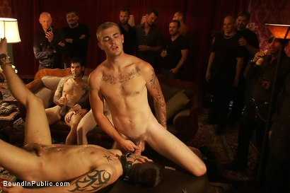 Photo number 13 from Gay Night on The Upper Floor shot for Bound in Public on Kink.com. Featuring Christian Wilde, Jake Austin and Hayden Russo in hardcore BDSM & Fetish porn.