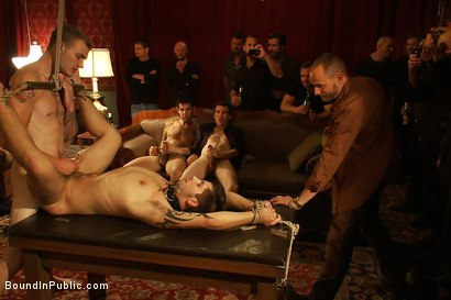 Photo number 14 from Gay Night on The Upper Floor shot for Bound in Public on Kink.com. Featuring Christian Wilde, Jake Austin and Hayden Russo in hardcore BDSM & Fetish porn.