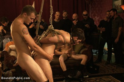 Photo number 9 from Gay Night on The Upper Floor shot for Bound in Public on Kink.com. Featuring Christian Wilde, Jake Austin and Hayden Russo in hardcore BDSM & Fetish porn.