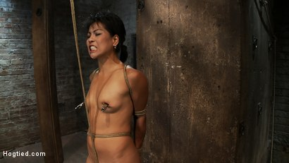 Photo number 12 from Asian MILF with huge nipples is made to cum hard<br>pulled to her tip toes with a brutal crotch rope shot for Hogtied on Kink.com. Featuring Max Mikita in hardcore BDSM & Fetish porn.