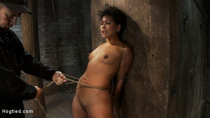 Photo number 10 from Asian MILF with huge nipples is made to cum hard<br>pulled to her tip toes with a brutal crotch rope shot for Hogtied on Kink.com. Featuring Max Mikita in hardcore BDSM & Fetish porn.
