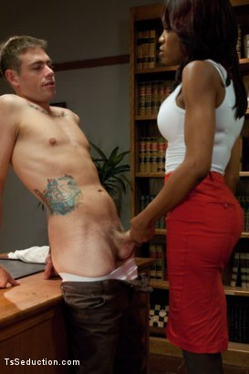 Photo number 5 from School's In<br> Lesson One: Suck Her Cock shot for TS Seduction on Kink.com. Featuring Star and John Jammen in hardcore BDSM & Fetish porn.