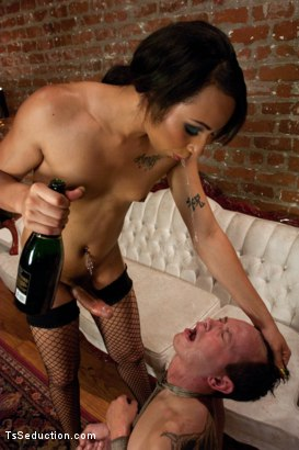 Photo number 11 from The Champange Room <br> If you don't got no money, your broke ass is getting fucked shot for TS Seduction on Kink.com. Featuring Honey FoXXX and Derrick P. in hardcore BDSM & Fetish porn.