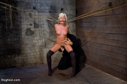 Photo number 12 from Little blond Aussie chick walked into the wrong sub basement<br>Welcome to America. shot for Hogtied on Kink.com. Featuring Kelly Surfer in hardcore BDSM & Fetish porn.