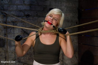 Photo number 5 from Little blond Aussie chick walked into the wrong sub basement<br>Welcome to America. shot for Hogtied on Kink.com. Featuring Kelly Surfer in hardcore BDSM & Fetish porn.