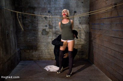 Photo number 6 from Little blond Aussie chick walked into the wrong sub basement<br>Welcome to America. shot for Hogtied on Kink.com. Featuring Kelly Surfer in hardcore BDSM & Fetish porn.