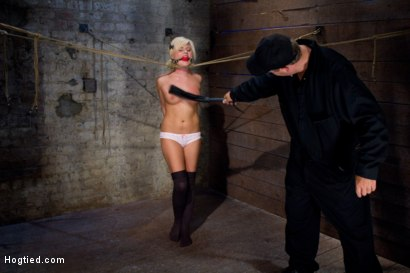 Photo number 8 from Little blond Aussie chick walked into the wrong sub basement<br>Welcome to America. shot for Hogtied on Kink.com. Featuring Kelly Surfer in hardcore BDSM & Fetish porn.