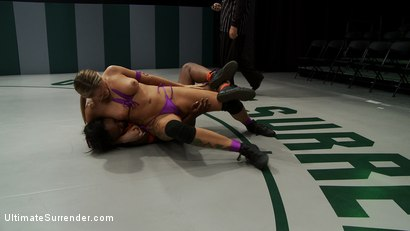 Photo number 4 from Blond battles stronger black girl<br>The only non-scripted competitive sex wrestling in the world shot for Ultimate Surrender on Kink.com. Featuring Rain DeGrey and Coffee Brown in hardcore BDSM & Fetish porn.