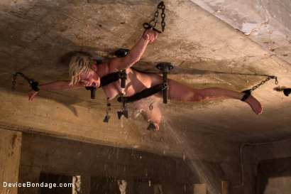 Photo number 10 from Classic Shoot: Bolted to the Ceiling, Wide Open for Abuse<br>Something you don't see everyday shot for Device Bondage on Kink.com. Featuring Chloe Camilla in hardcore BDSM & Fetish porn.