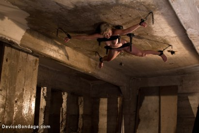 Photo number 14 from Classic Shoot: Bolted to the Ceiling, Wide Open for Abuse<br>Something you don't see everyday shot for Device Bondage on Kink.com. Featuring Chloe Camilla in hardcore BDSM & Fetish porn.