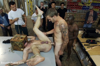 Photo number 10 from Ned and The Gay Mafia shot for Bound in Public on Kink.com. Featuring Ned Mayhem and Christian Wilde in hardcore BDSM & Fetish porn.