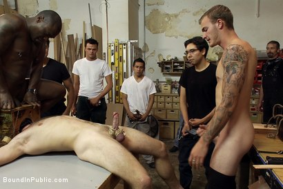 Photo number 8 from Ned and The Gay Mafia shot for Bound in Public on Kink.com. Featuring Ned Mayhem and Christian Wilde in hardcore BDSM & Fetish porn.