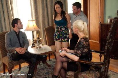 Photo number 2 from Spouse Training 3 shot for Sex And Submission on Kink.com. Featuring John Strong, Madeleine Mei and Lorelei Lee in hardcore BDSM & Fetish porn.