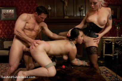 Photo number 7 from Spouse Training 3 shot for Sex And Submission on Kink.com. Featuring John Strong, Madeleine Mei and Lorelei Lee in hardcore BDSM & Fetish porn.