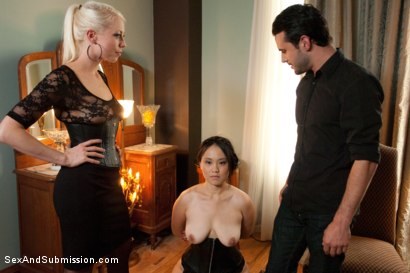 Photo number 14 from Spouse Training 3 shot for Sex And Submission on Kink.com. Featuring John Strong, Madeleine Mei and Lorelei Lee in hardcore BDSM & Fetish porn.