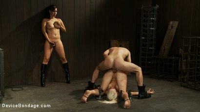 Photo number 9 from Hot Blond, is caned, ass fucked & made to cum over and over   4 DOM's brutally work the whore over shot for Device Bondage on Kink.com. Featuring Lorelei Lee, Isis Love and James Deen in hardcore BDSM & Fetish porn.
