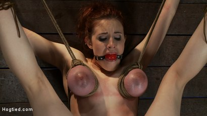 Photo number 13 from 19yr old with huge natural tits is suspended to a wall<br>her breasts are tied to hold up her legs. shot for Hogtied on Kink.com. Featuring Iona Grace and Isis Love in hardcore BDSM & Fetish porn.