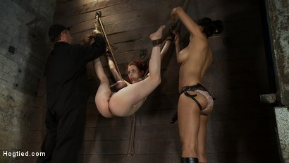 Photo number 6 from 19yr old with huge natural tits is suspended to a wall<br>her breasts are tied to hold up her legs. shot for Hogtied on Kink.com. Featuring Iona Grace and Isis Love in hardcore BDSM & Fetish porn.