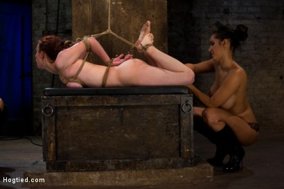 Photo number 3 from Hot 19 yr old suffers a category 5 Hogtied suspension. <br> Isis Love makes her cum over and over  shot for Hogtied on Kink.com. Featuring Iona Grace and Isis Love in hardcore BDSM & Fetish porn.