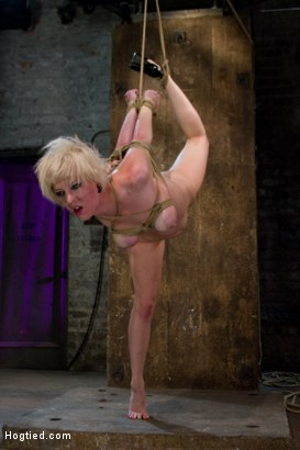 Photo number 9 from Hot Blond with PERFECT BODY, natural tits, severely bound, gagged and abused   All on screen tying shot for Hogtied on Kink.com. Featuring Cherry Torn in hardcore BDSM & Fetish porn.