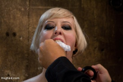 Photo number 2 from Hot Blond with PERFECT BODY, natural tits, severely bound, gagged and abused<br>All on screen tying shot for Hogtied on Kink.com. Featuring Cherry Torn in hardcore BDSM & Fetish porn.