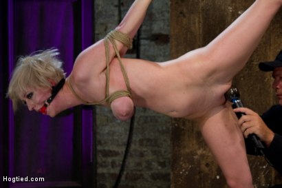 Photo number 14 from Hot Blond with PERFECT BODY, natural tits, severely bound, gagged and abused<br>All on screen tying shot for Hogtied on Kink.com. Featuring Cherry Torn in hardcore BDSM & Fetish porn.