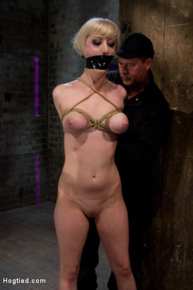 Photo number 4 from Hot Blond with PERFECT BODY, natural tits, severely bound, gagged and abused<br>All on screen tying shot for Hogtied on Kink.com. Featuring Cherry Torn in hardcore BDSM & Fetish porn.