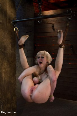 Photo number 1 from Blond with killer natural body, is suspended, suffers intense foot caning   Made to cum over & over shot for Hogtied on Kink.com. Featuring Cherry Torn in hardcore BDSM & Fetish porn.