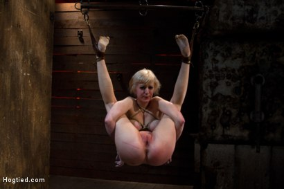Photo number 10 from Blond with killer natural body, is suspended, suffers intense foot caning<br>Made to cum over & over shot for Hogtied on Kink.com. Featuring Cherry Torn in hardcore BDSM & Fetish porn.