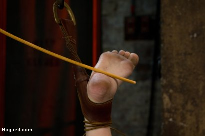 Photo number 5 from Blond with killer natural body, is suspended, suffers intense foot caning<br>Made to cum over & over shot for Hogtied on Kink.com. Featuring Cherry Torn in hardcore BDSM & Fetish porn.