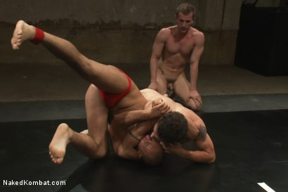 Photo number 3 from Trent Diesel & DJ vs Cameron Adams & Leo Forte <br> The Tag Team Match shot for Naked Kombat on Kink.com. Featuring DJ, Cameron Adams, Trent Diesel and Leo Forte in hardcore BDSM & Fetish porn.