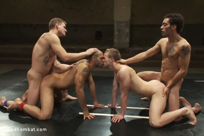 Photo number 13 from Trent Diesel & DJ vs Cameron Adams & Leo Forte <br> The Tag Team Match shot for Naked Kombat on Kink.com. Featuring DJ, Cameron Adams, Trent Diesel and Leo Forte in hardcore BDSM & Fetish porn.
