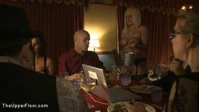 Photo number 11 from Dom's Dinner Party! shot for The Upper Floor on Kink.com. Featuring Cherry Torn, Jessie Cox, Kait Snow, Holly Heart and Maestro in hardcore BDSM & Fetish porn.