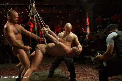 Photo number 6 from Live Shoot: Bound In Public Launch Party shot for Bound in Public on Kink.com. Featuring Patrick Rouge and Josh West in hardcore BDSM & Fetish porn.