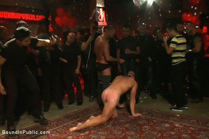 Photo number 2 from Live Shoot: Bound In Public Launch Party shot for Bound in Public on Kink.com. Featuring Patrick Rouge and Josh West in hardcore BDSM & Fetish porn.
