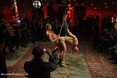Photo number 8 from Live Shoot: Bound In Public Launch Party shot for Bound in Public on Kink.com. Featuring Patrick Rouge and Josh West in hardcore BDSM & Fetish porn.