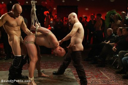 Photo number 10 from Live Shoot: Bound In Public Launch Party shot for Bound in Public on Kink.com. Featuring Patrick Rouge and Josh West in hardcore BDSM & Fetish porn.