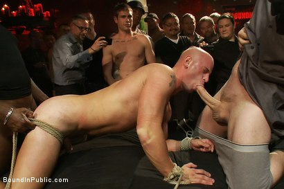 Photo number 11 from Live Shoot: Bound In Public Launch Party shot for Bound in Public on Kink.com. Featuring Patrick Rouge and Josh West in hardcore BDSM & Fetish porn.