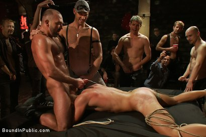 Photo number 13 from Live Shoot: Bound In Public Launch Party shot for Bound in Public on Kink.com. Featuring Patrick Rouge and Josh West in hardcore BDSM & Fetish porn.