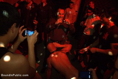 Photo number 1 from Live Shoot: Bound In Public Launch Party shot for Bound in Public on Kink.com. Featuring Patrick Rouge and Josh West in hardcore BDSM & Fetish porn.